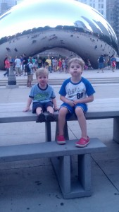 "My two guys in front of ""The Bean"" in Millennium Park"