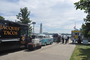 Food Trucks Along Detroit's Downtown Riverwalk
